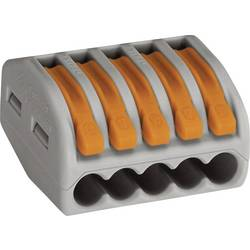 Krabicová svorkovnica WAGO 222 na kábel s rozmerom 0.08-4 mm², pólů 5, 1 ks, sivá, oranžová