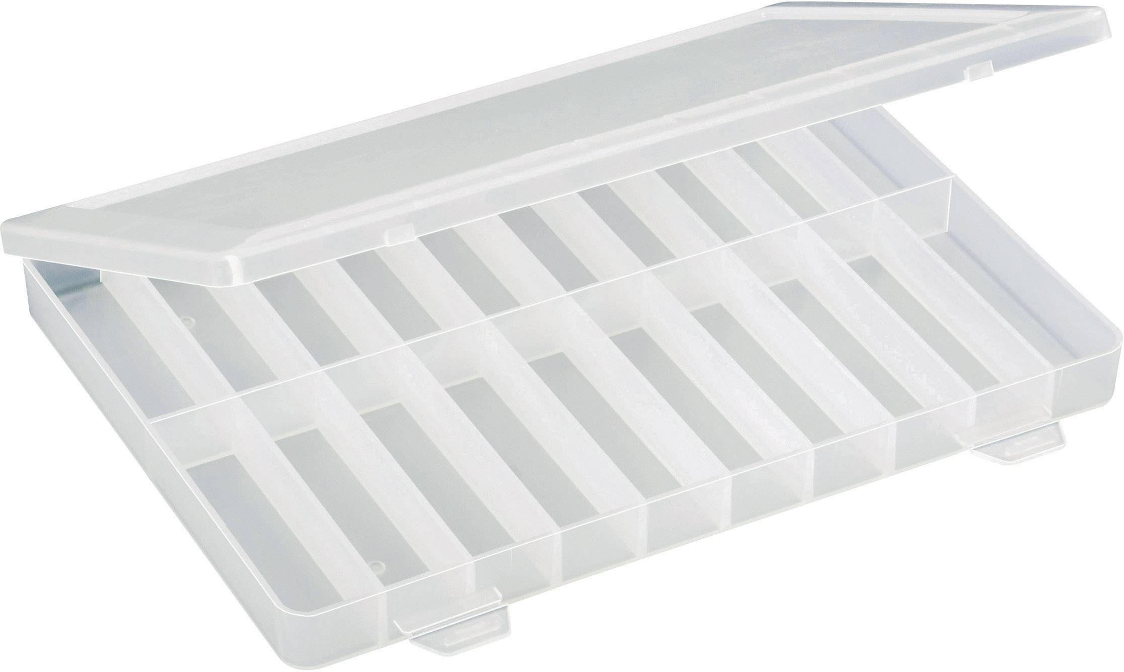 Krabička na drobné súčiastky TRU COMPONENTS 1564901, priečinkov: 20, 250 x 180 x 24 , transparentná (difúzna)