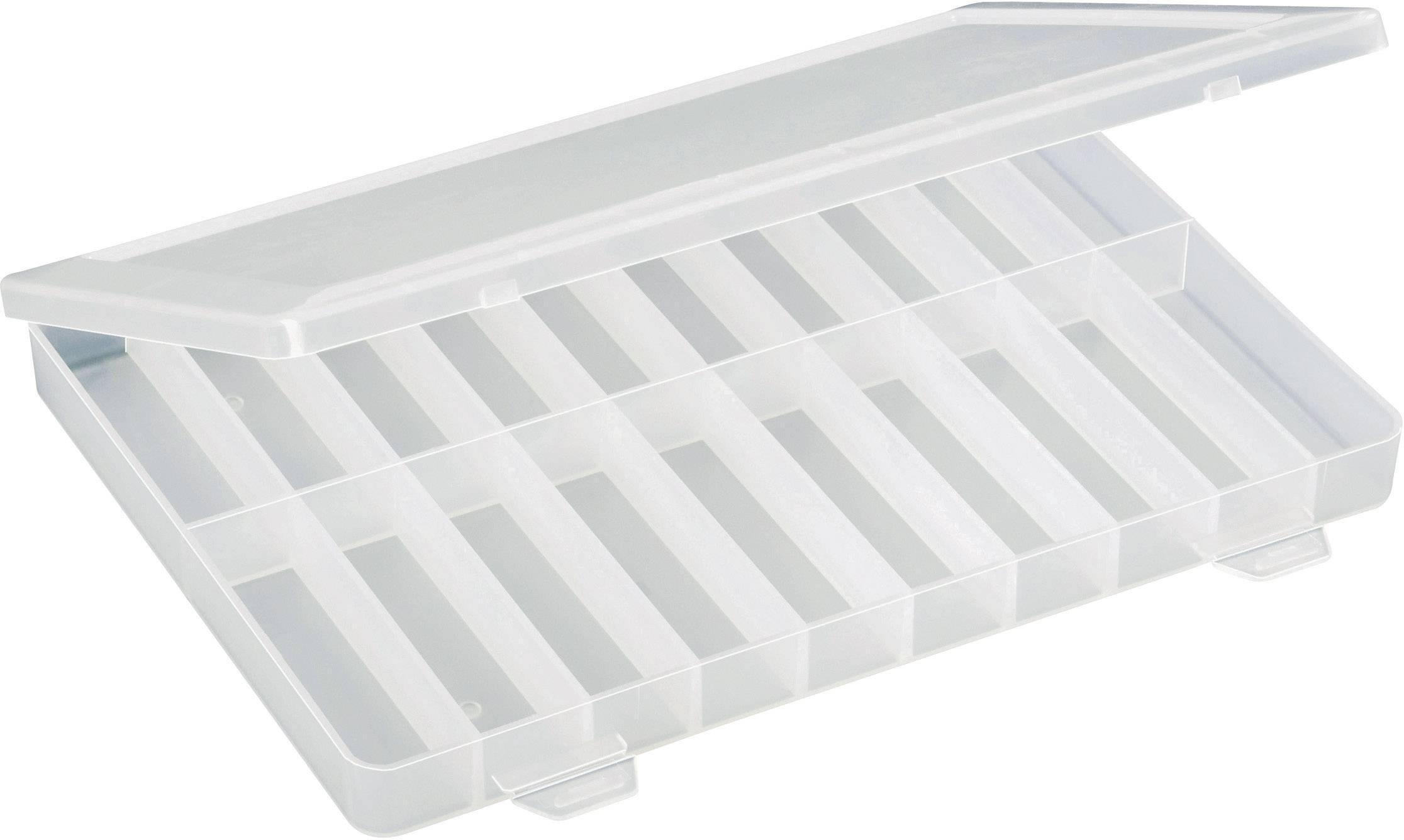 Krabička na malé součástky TRU COMPONENTS, 1564901, přihrádek: 20, 250 x 180 x 24 , transparentní (difuzní)
