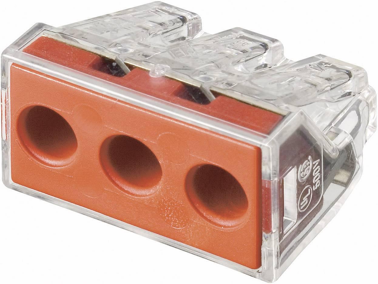 Krabicová svorkovnica WAGO 773-173 na kábel s rozmerom - , pólů 3, 1 ks, priehľadná, červená