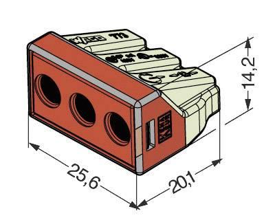 Krabicová svorka Wago, 773-173, 2,5 - 6 mm², 3pólová, transparentní/červená