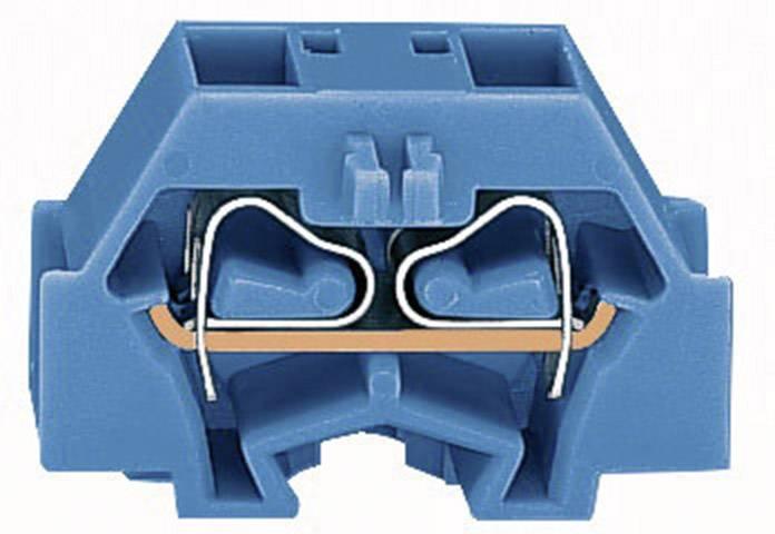 Svorka 4vodičová Wago 260-334, s přip. přírubou, pružinová, 8 mm, modrá