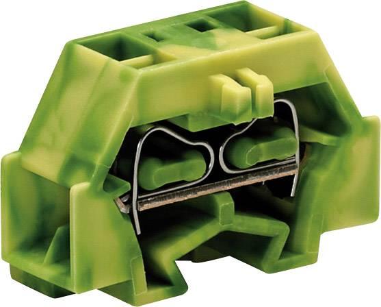 Svorka 4vodičová Wago 260-337, s přip. přírubou, pružinová, 8 mm, zelenožlutá