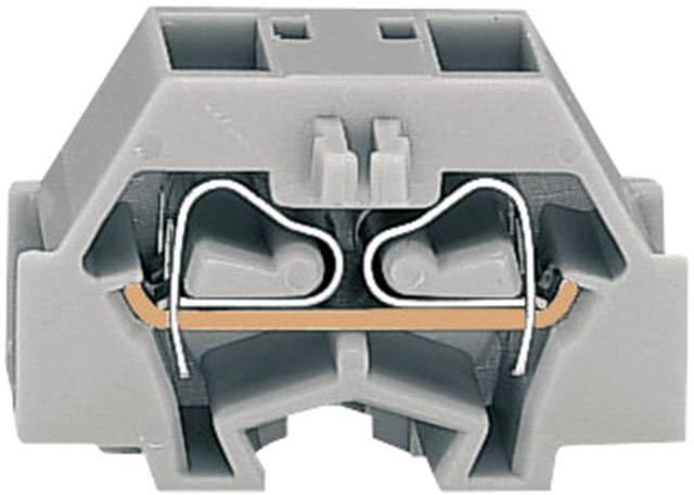 Svorka 4vodičová Wago 260-331, s přip. přírubou, pružinová, 8 mm, šedá