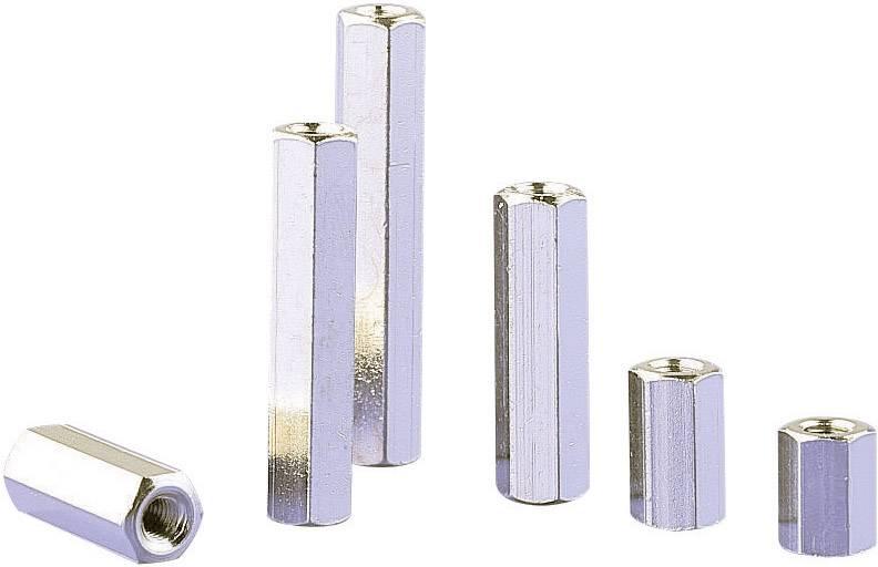 Dištančný stĺpik do DPS M3 6135-10, mosadz, délka 10 mm, 1 ks