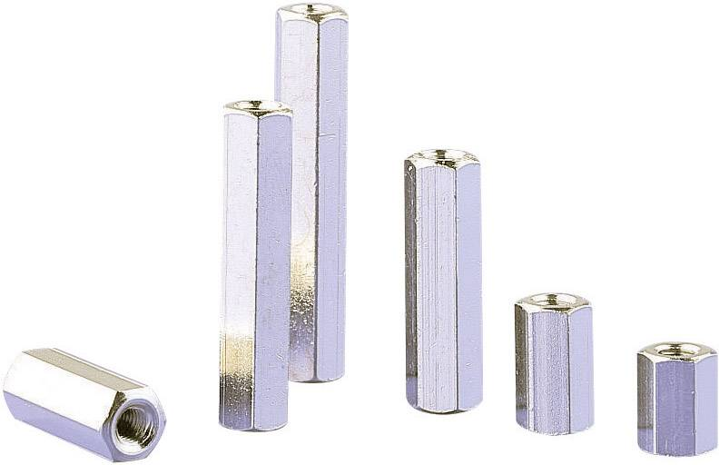 Dištančný stĺpik do DPS M3 6135-25, mosadz, délka 25 mm, 1 ks