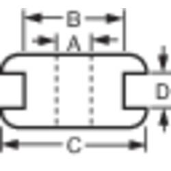 Kabelová průchodka, 6 x 8 x 12 x 1,5 mm, černá
