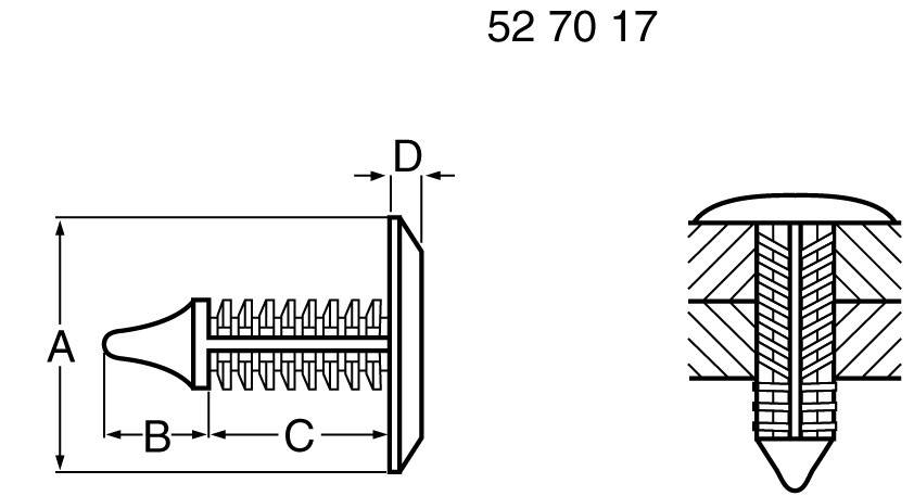 PB Fastener 354-9065-0010 1 - 19,5 mm, plast