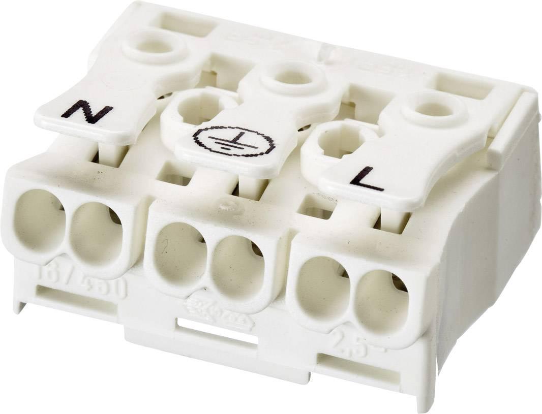 Svietidlové svorky Adels-Contact LK 980-01/3 B 041013 na kábel s rozmerom -2.5 mm², tuhosť -2.5 mm², počet pinov 3, 1 ks, biela