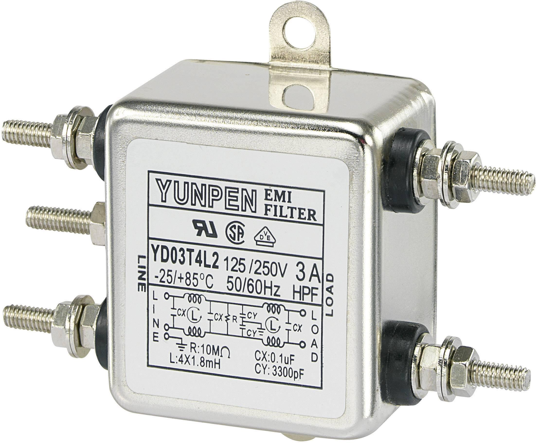 Odrušovací filter Yunpen YD03T4L2 YD03T4L2, 250 V/AC, 3 A, 1.8 mH, (d x š x v) 50 x 85.3 x 28.5 mm, 1 ks
