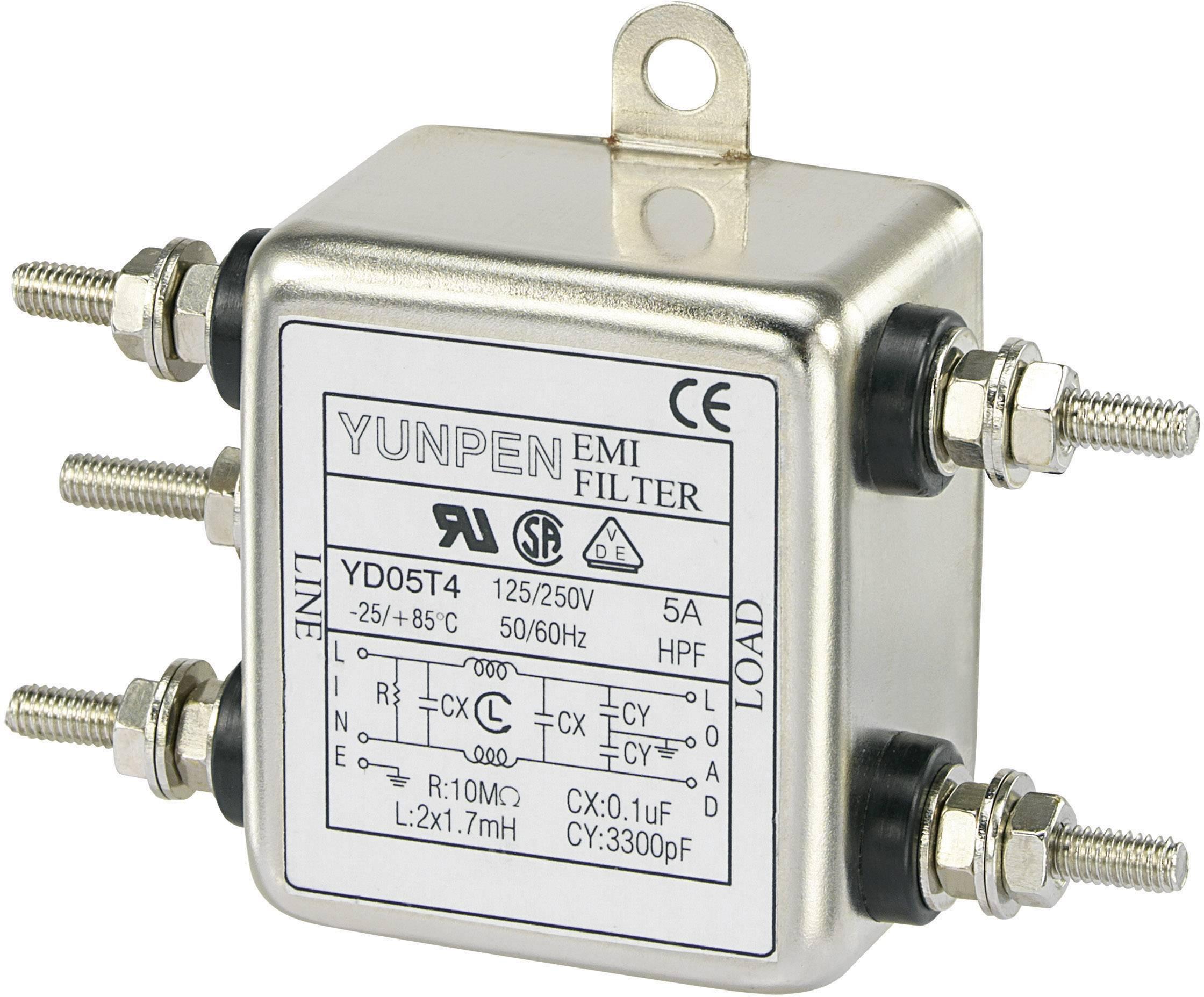 Odrušovací filter Yunpen YD05T4 YD05T4, 250 V/AC, 5 A, 1.7 mH, (d x š x v) 50 x 85.3 x 28.5 mm, 1 ks