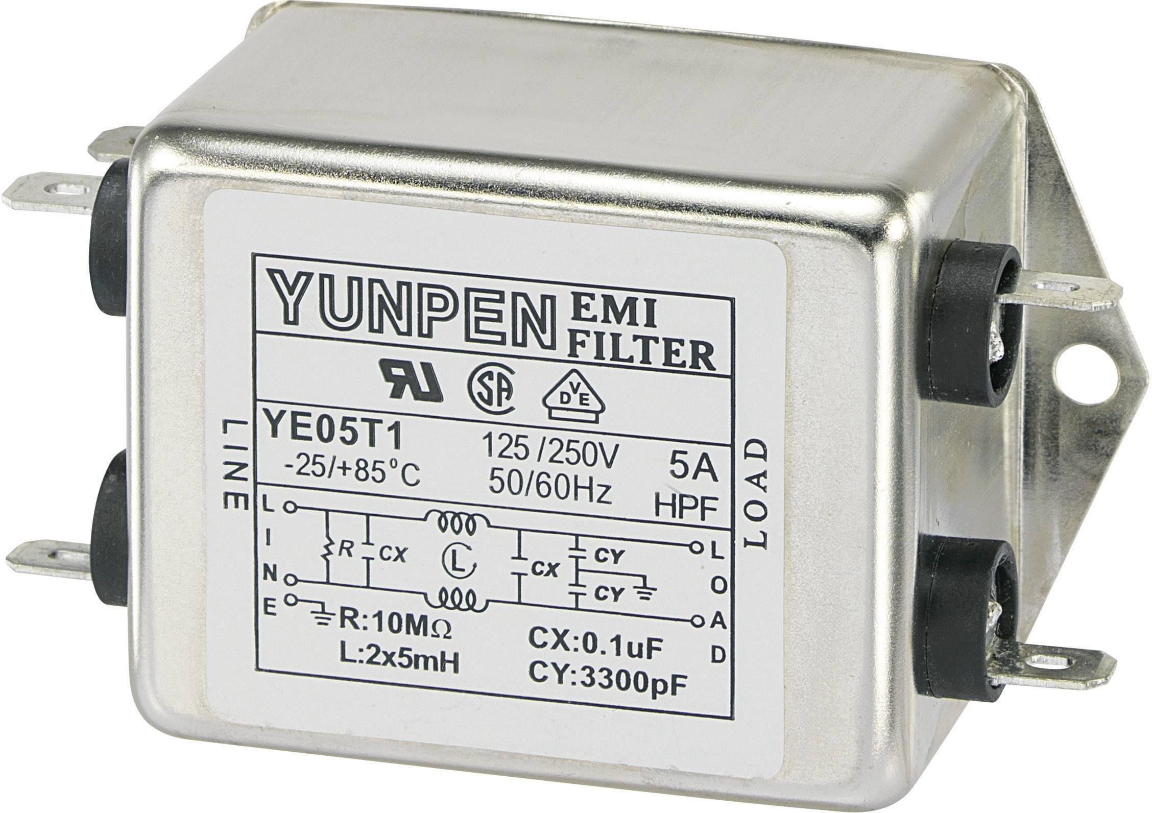 Odrušovací filter Yunpen YE05T1 530093, 250 V/AC, 5 A, 5 mH, (d x š x v) 75 x 51 x 37 mm, 1 ks