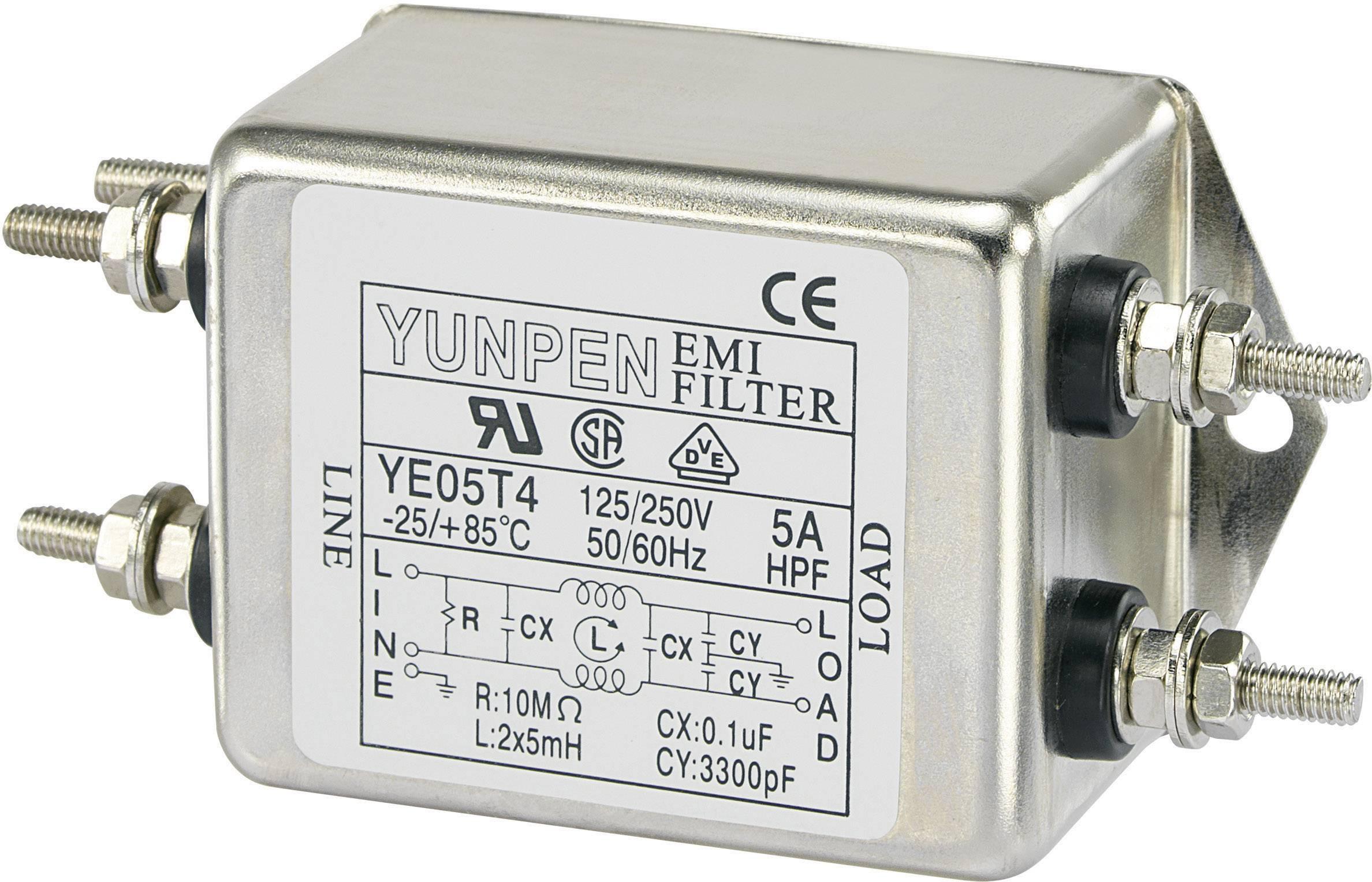 Odrušovací filter Yunpen YE05T4 YE05T4, 250 V/AC, 5 A, 5 mH, (d x š x v) 75 x 51 x 37 mm, 1 ks