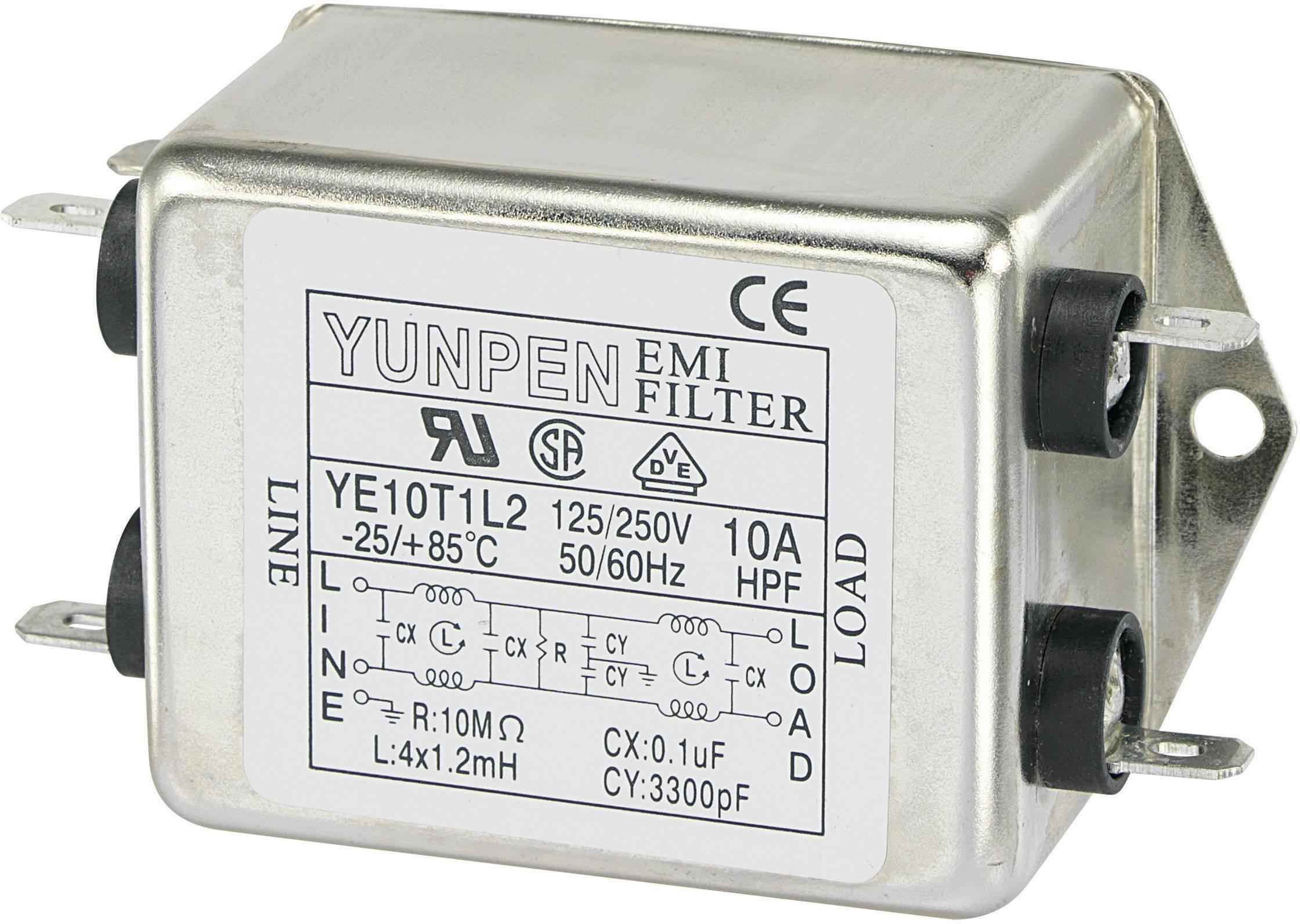 Síťový filtr Yunpen, YE10T1L2, 4 x 1,2 mH, 250 V/AC, 10 A