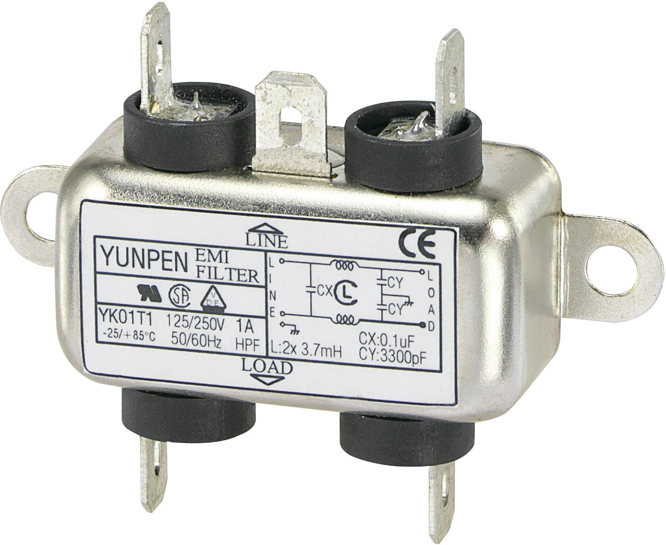 Síťový filtr Yunpen, YK01T1, 2 x 3,7 mH, 250 V/AC, 1 A