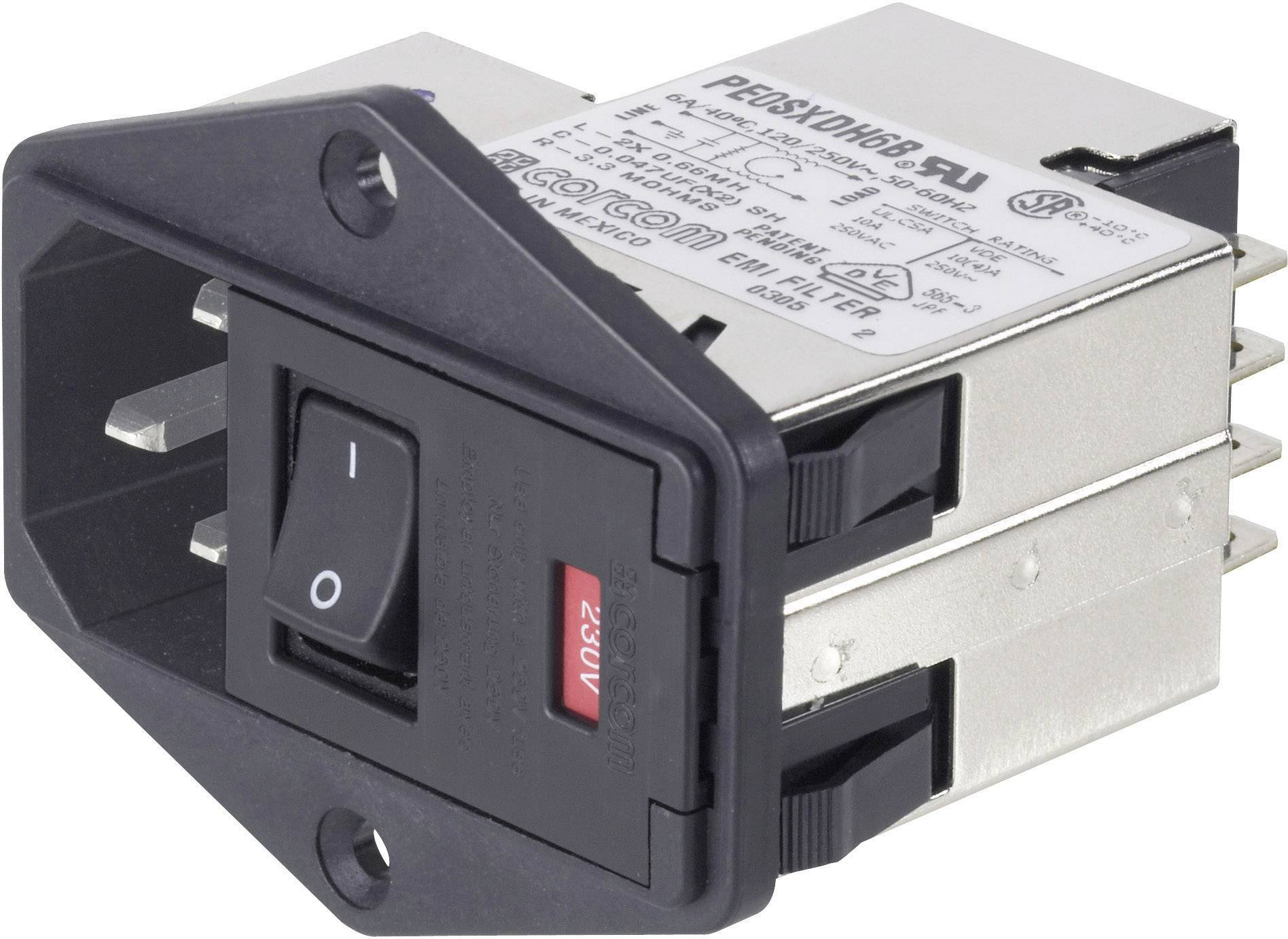 Síťový filtr TE Connectivity, PS0S0DS6B=C1185, 250 V/AC, 6 A