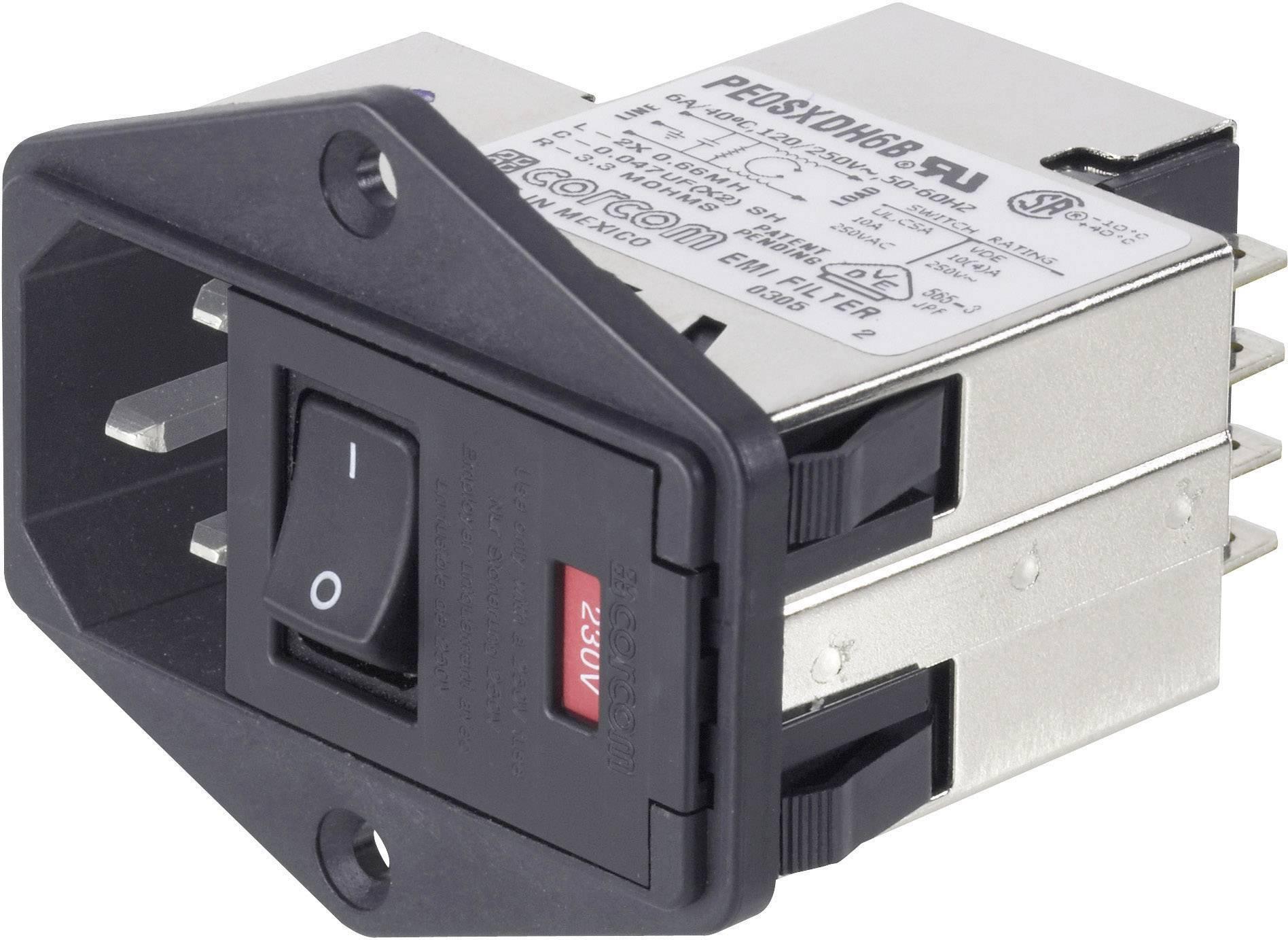 Sieťový filter TE Connectivity PE000DS6A=C2397 8-6609930-3, s dvoma poistkami, s IEC zásuvkou, 250 V/AC, 6 A, 1 ks