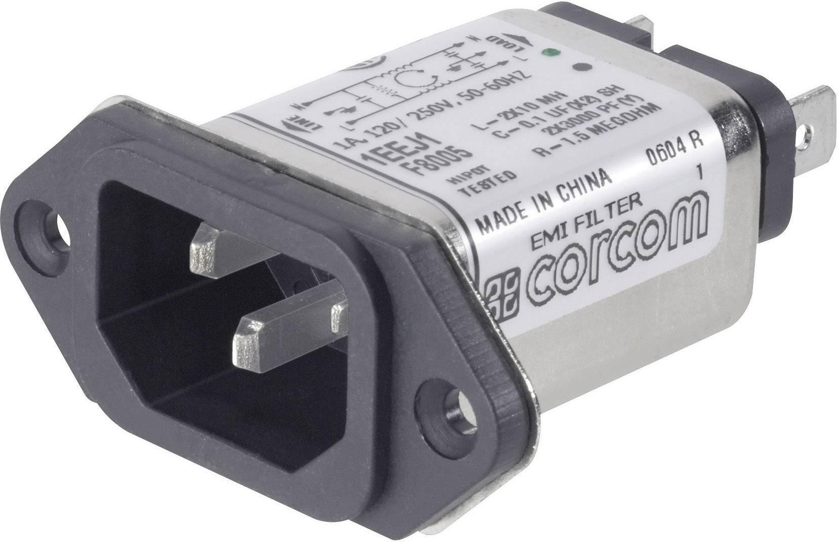 Sieťový filter TE Connectivity 6609006-1 6609006-1, s IEC zásuvkou, 250 V/AC, 1 A, 10 mH, 1 ks