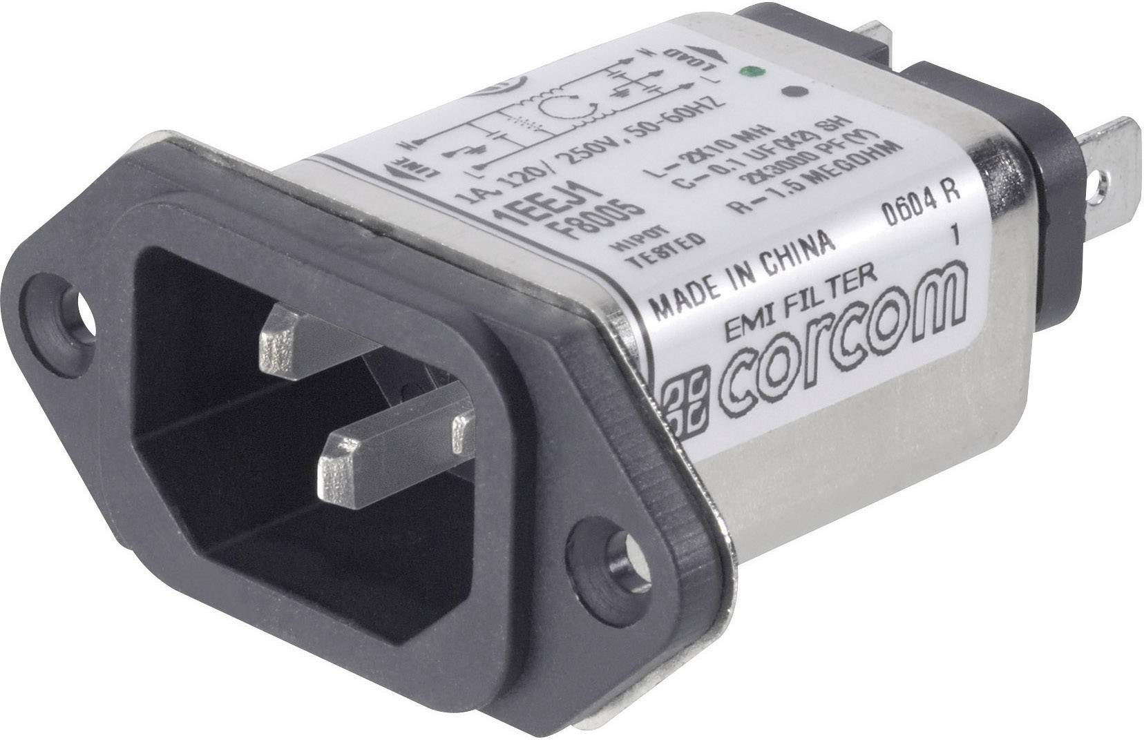 Sieťový filter TE Connectivity 6609006-9 6609006-9, s IEC zásuvkou, 250 V/AC, 6 A, 465 mH, 1 ks