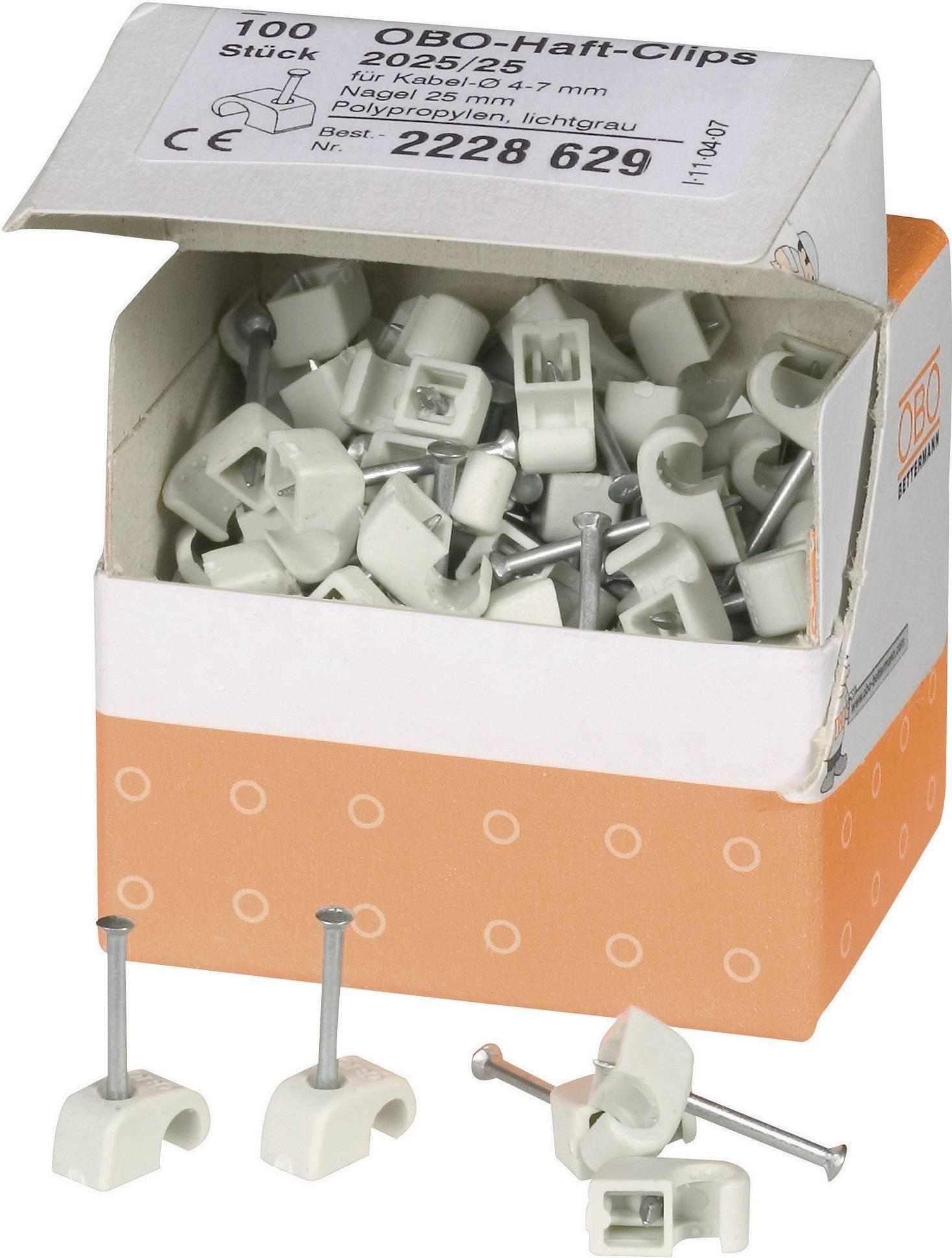 Příchytka OBO Bettermann, 2228629, Ø 4 - 7 mm, 100 ks, šedá