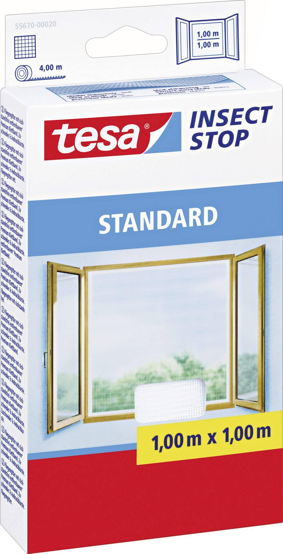 Síť proti hmyzu do okna Tesa Standard, 55670-20, 1 x 1 m, bílá