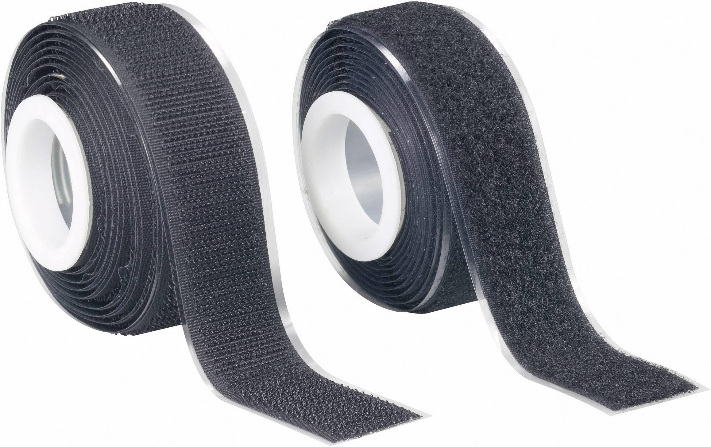 Suchý zip samolepící Fastech 25 mm x 2 m, černý