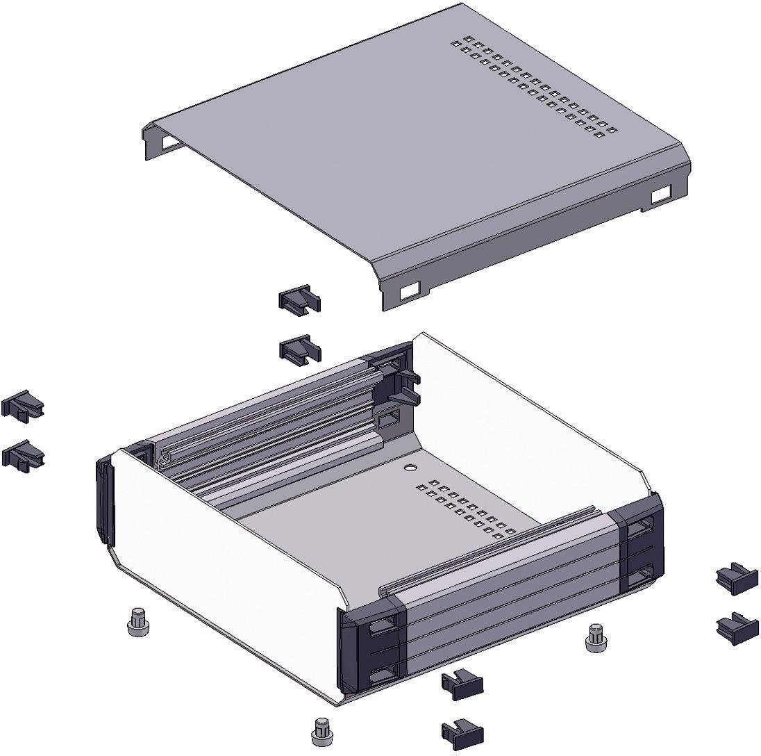 Stolní pouzdro hliníkové Axxatronic 31110006-CON, (d x š x v) 350 x 260 x 120 mm, antracitov
