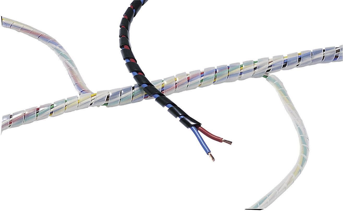 Špirálový káblový oplet HellermannTyton SBPE9D-PE-BK-5M, 10 do 100 mm, 5 m, čierna