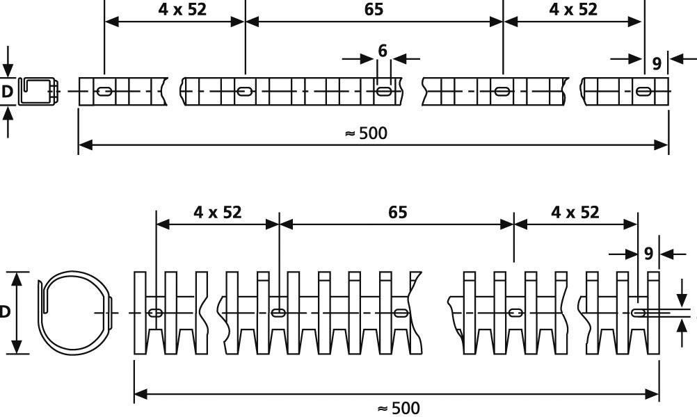 Držák kab. svazků HT HTC-10-PP-WH (164-11008), 9 x 11 mm, HTC10, PP, bílá