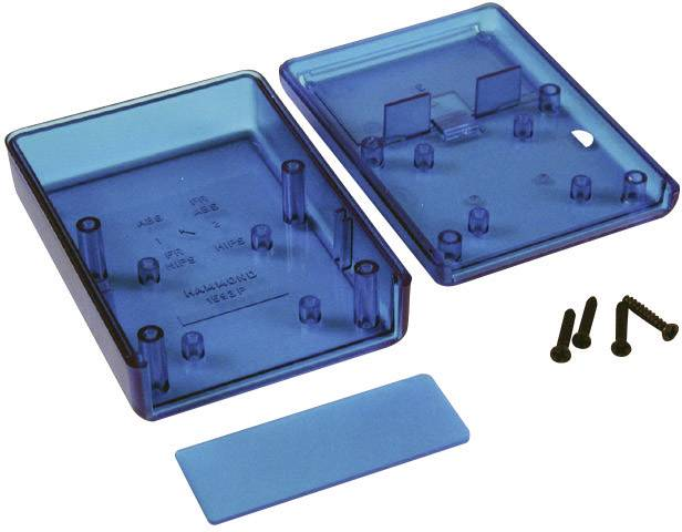 Plastová krabička Hammond Electronics 1593PTBU, 92 x 66 x 28 mm, ABS, modrá (transparentná), 1 ks