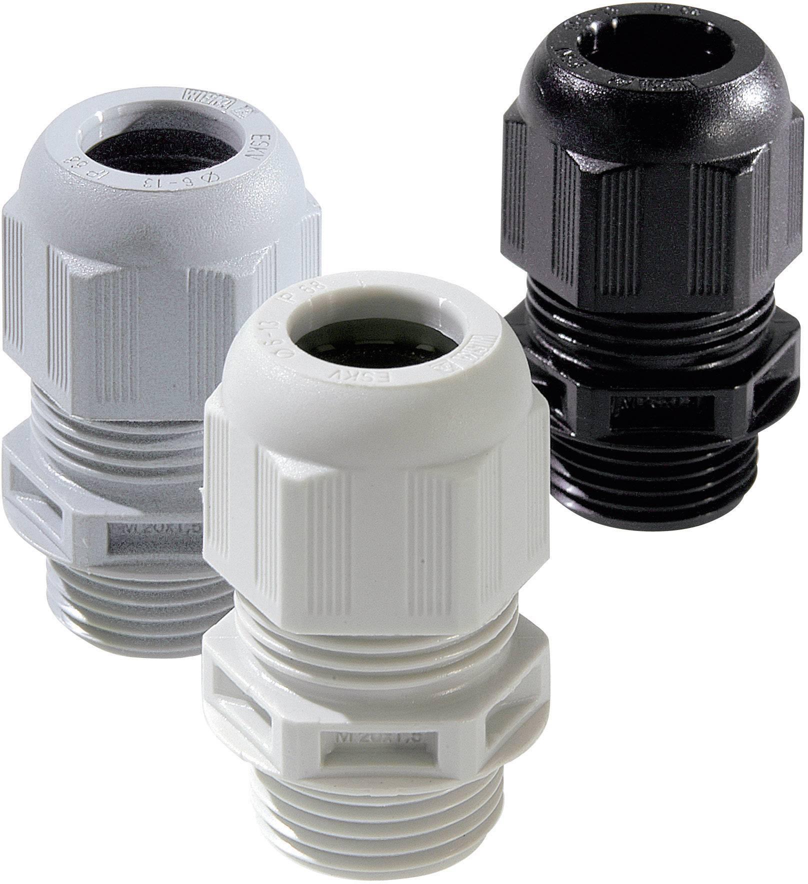 Káblová priechodka Wiska ESKV M12 RAL 7001, polyamid, striebornosivá, 1 ks
