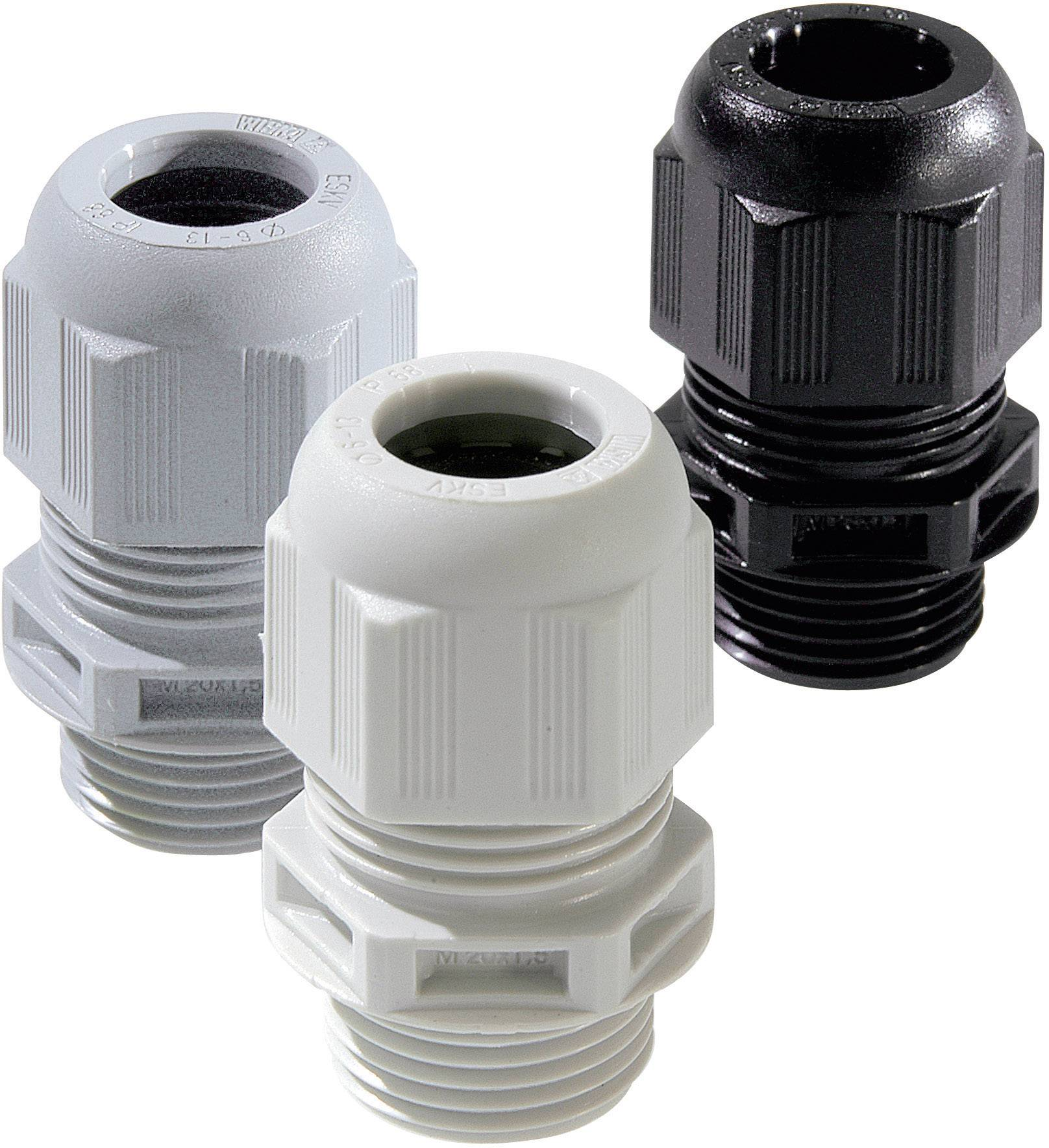 Káblová priechodka Wiska ESKV M25 RAL 9005, polyamid, čierna, 1 ks