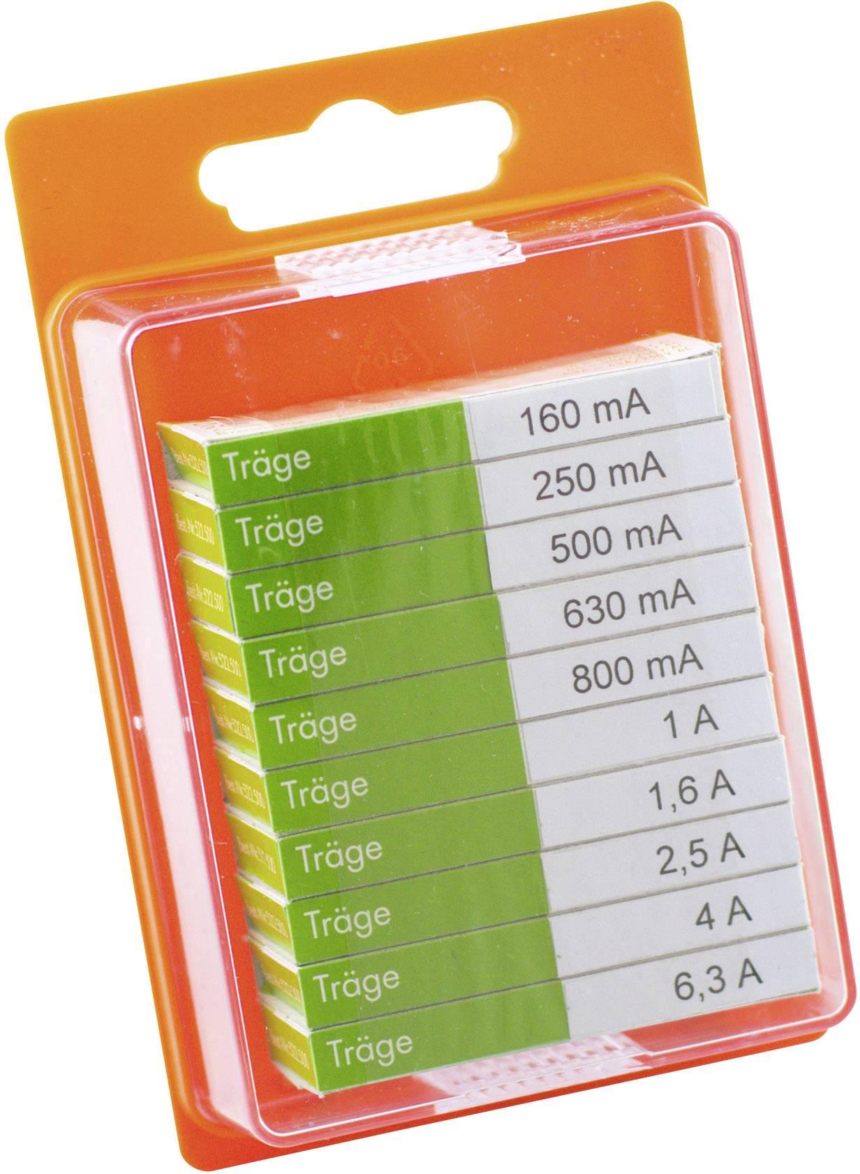 Sada trubičkových poistiek ESKA 12208, (Ø x d) 5 mm x 20 mm, pomalý -T-, 100 ks