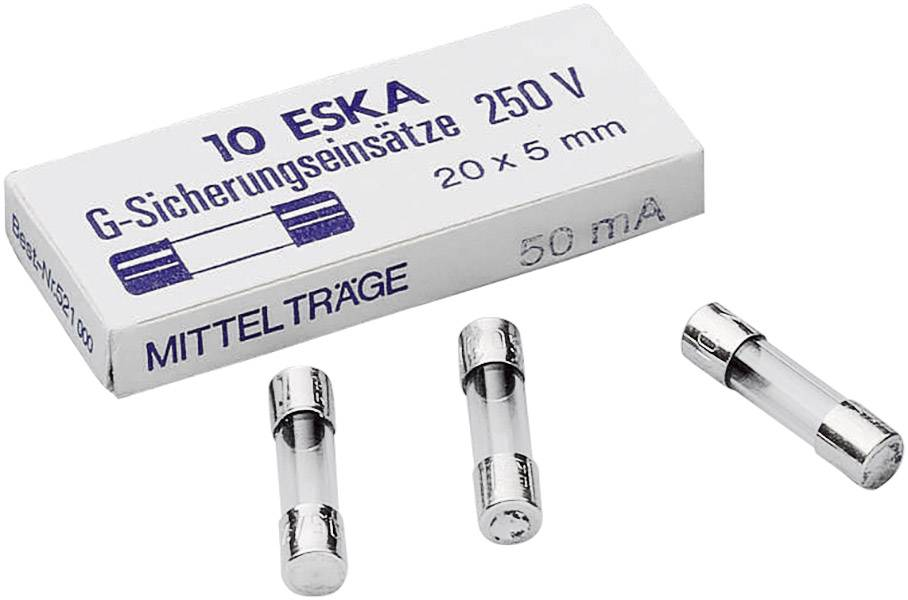 Jemná poistka ESKA 521002, 0.032 A, 250 V, (Ø x d) 5 mm x 20 mm, stredne pomalý -mT-, 10 ks