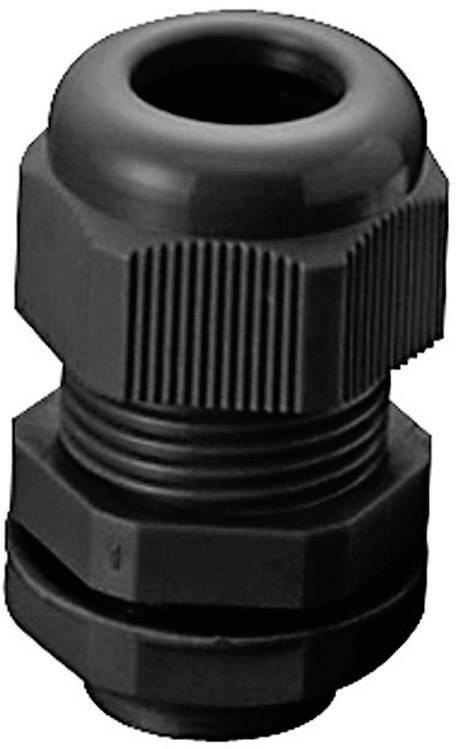 Káblová priechodka TRU COMPONENTS TC-AGR12L203, polyamid, čierna (RAL 9005), 1 ks