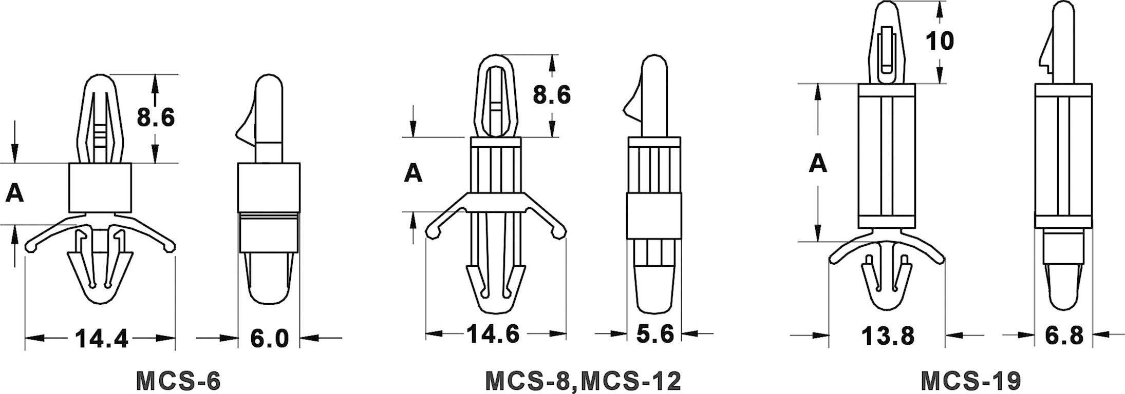 Držiak na DPS KSS MCS6 534186, polyamid, délka 6 mm, 1 ks