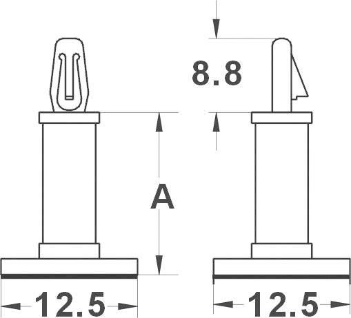 Držiak na DPS KSS MMR9 534194, polyamid, délka 9.5 mm, 1 ks
