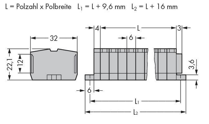 Svorková lišta WAGO 264-106, osazení: L, pružinová svorka, 6 mm, šedá, 100 ks
