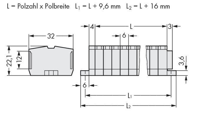 Svorková lišta WAGO 264-132, osazení: L, pružinová svorka, 6 mm, šedá, 100 ks