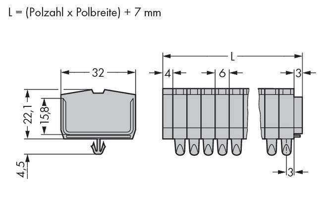 Svorková lišta WAGO 264-154, osazení: L, pružinová svorka, 6 mm, šedá, 100 ks
