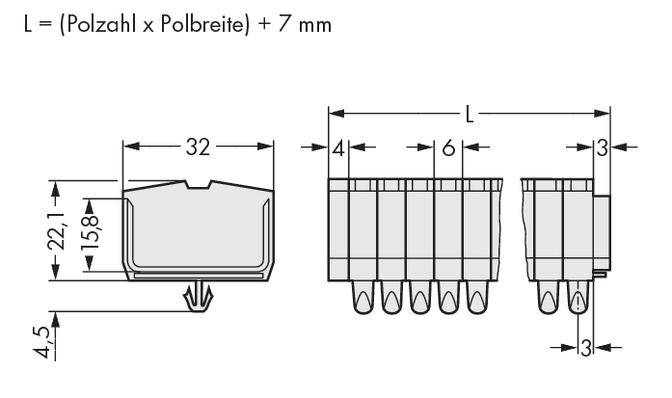 Svorková lišta WAGO 264-185, osazení: L, pružinová svorka, 6 mm, šedá, 100 ks