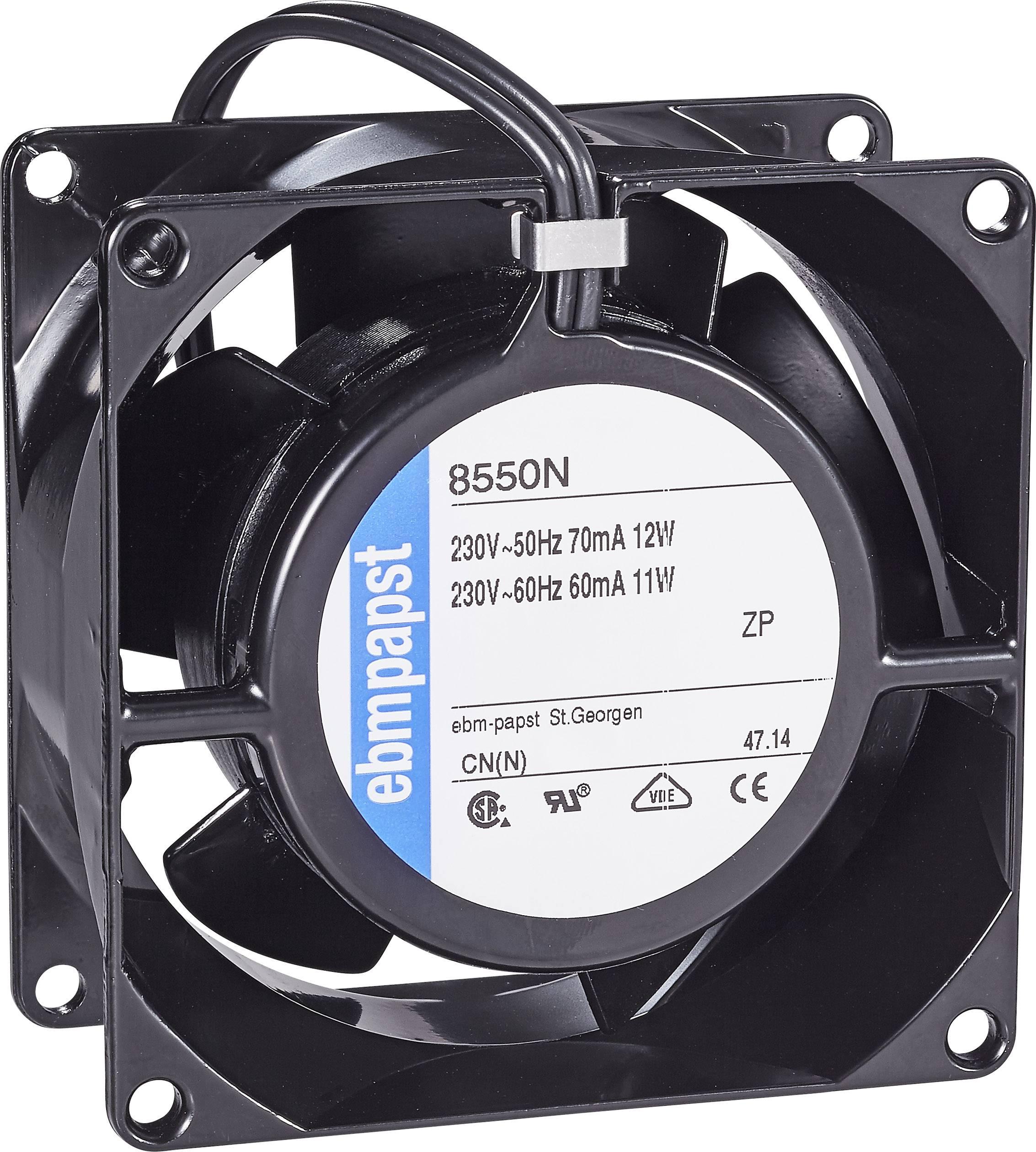 Axiální ventilátor EBM Papst 8550 N, 230 V, 30 dBA, 80 x 80 x 38 mm, černá