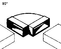 Plochý kanál Wallair, rohový, bílá