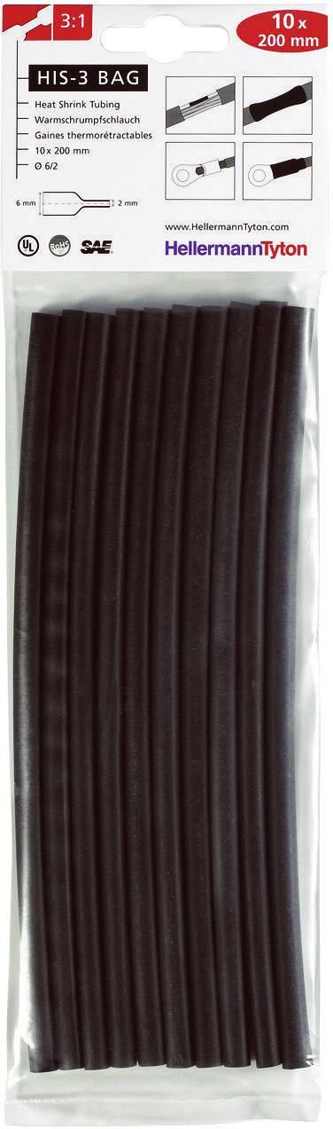 Sada zmršťovacých bužírok HellermannTyton HIS-3-BAG-6/2-BK 308-30610, 3:1, 6 mm, čierna, 10 ks