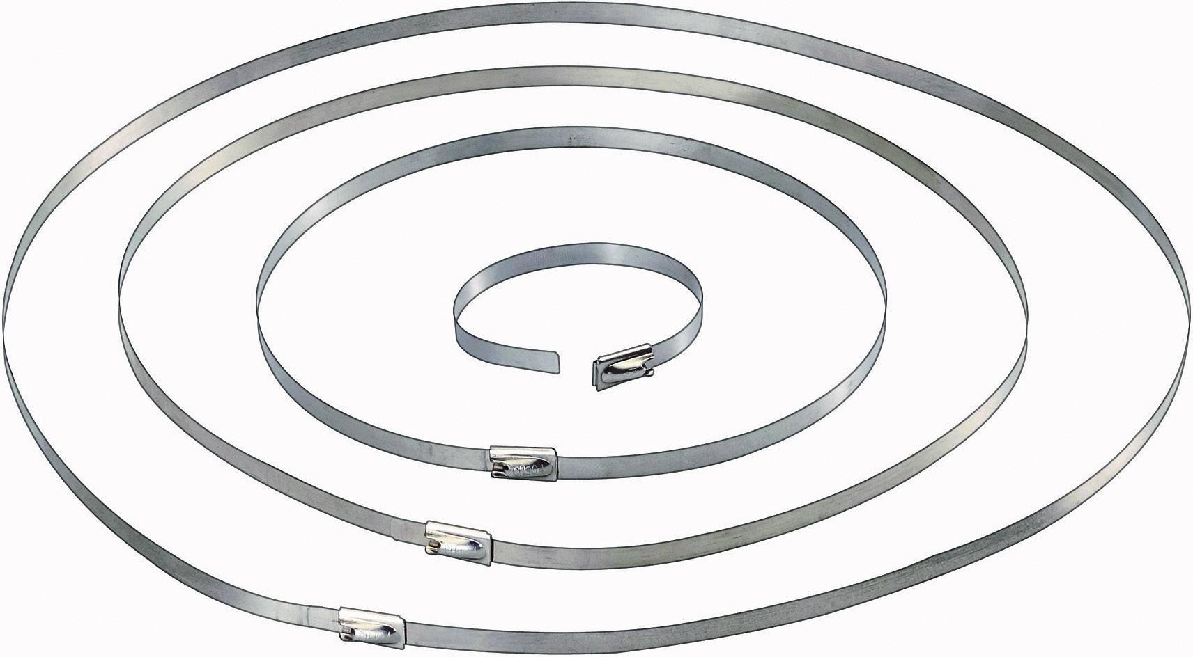 Sťahovacie pásky Conrad Components 546574, 201 mm, strieborná, 10 ks