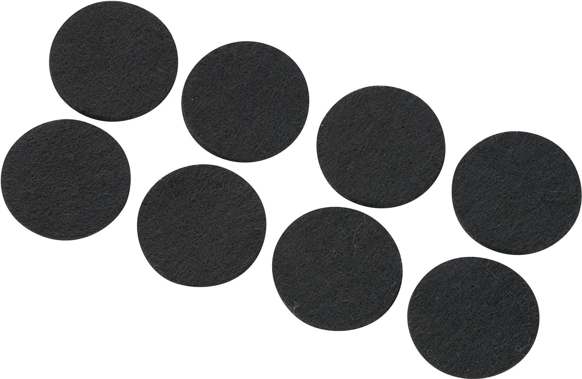 Plstené podložky (Ø x v) 25 mm x 3 mm, čierna, 8 ks