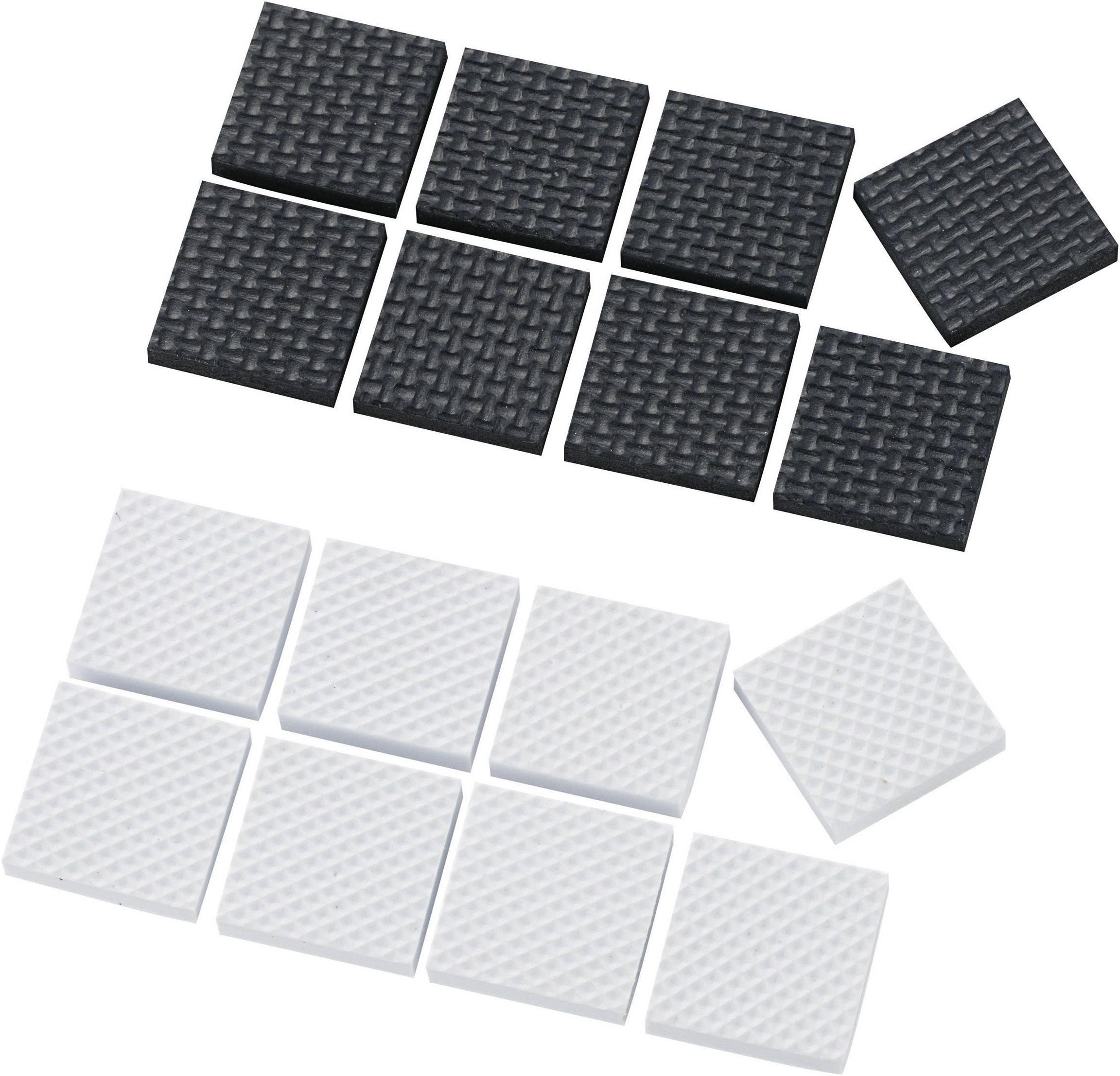 Podstavné nožičky prístrojové (d x š x v) 25 x 25 x 4 mm, biela, čierna, 16 ks