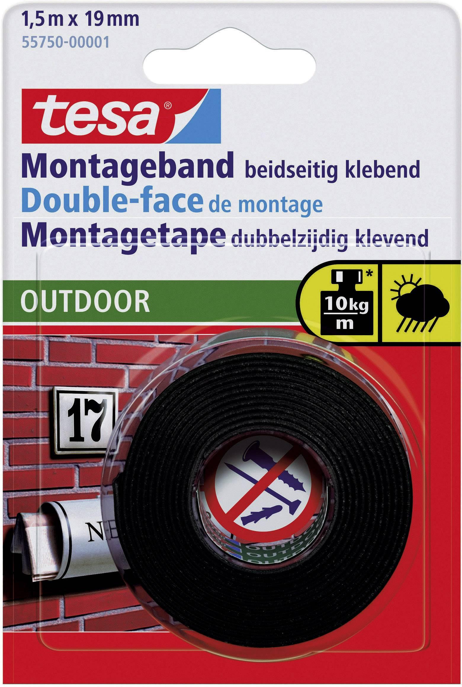Montážna páska tesa 55750 55750, (d x š) 1.5 m x 19 mm, čierna, 1 roliek
