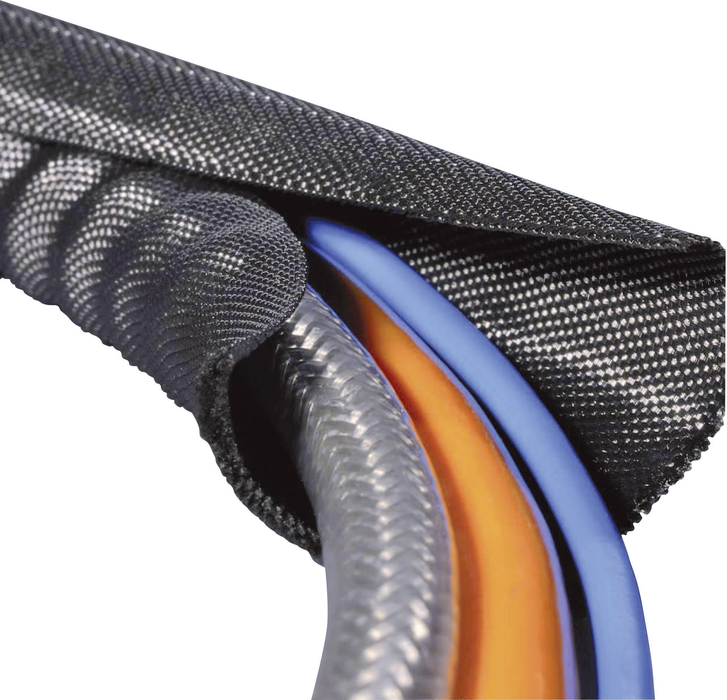 Ochranný oplet HellermannTyton Twist-In 19, 16 do 19 mm, -70 do +125 °C, metrový tovar, čierna