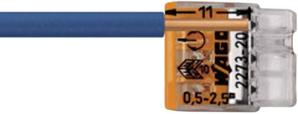 Krabicová svorka WAGO pro kabel o rozměru - , pólů 3, 100 ks, transparentní, oranžová